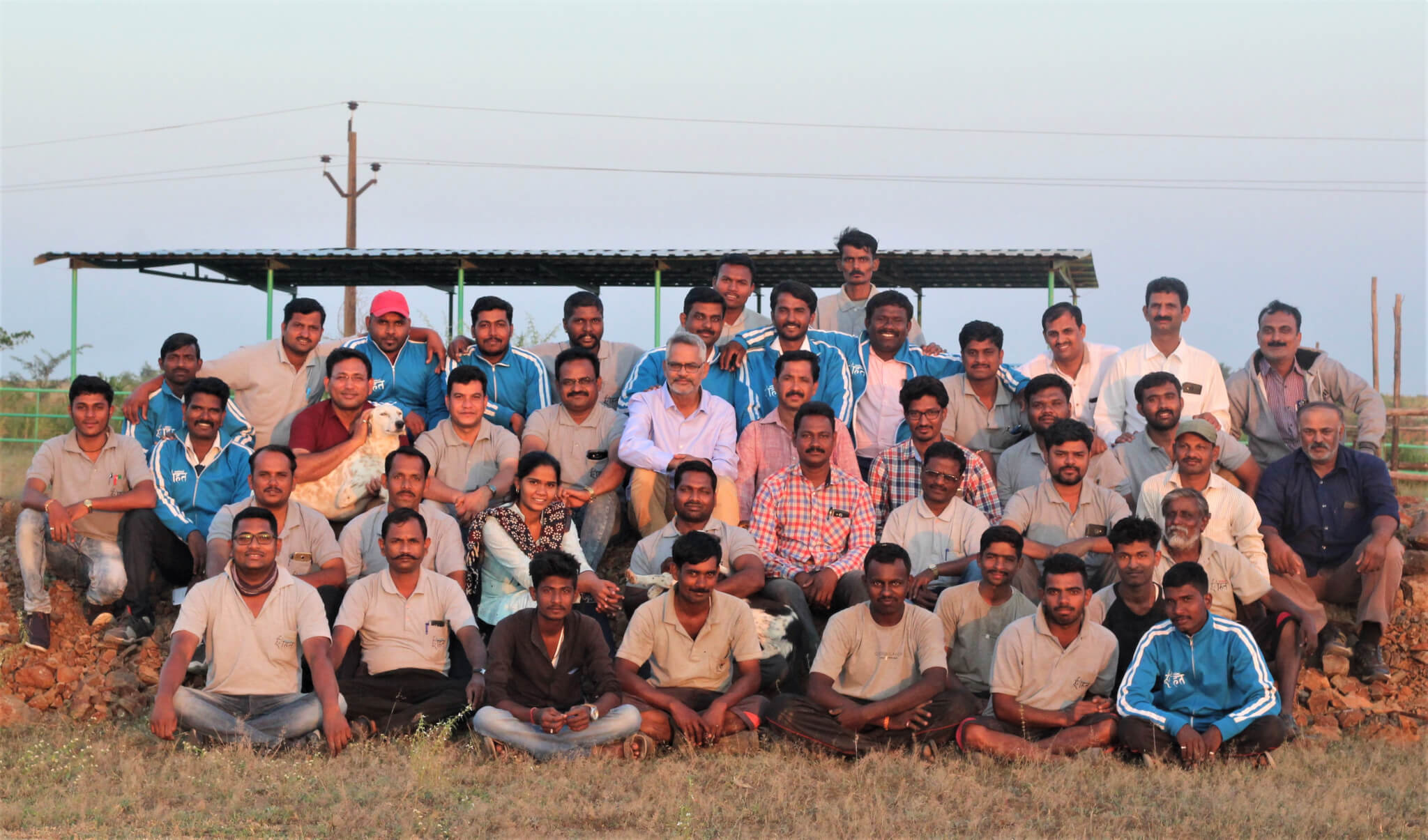 The entire Animal Rahat staff gathers together at the sanctuary.